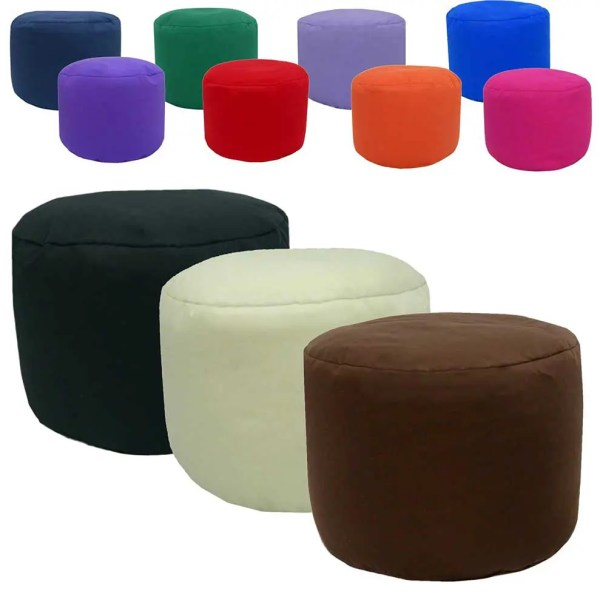 cotton drill round footstool pouffe