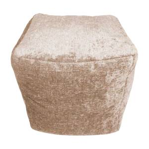 cream beige chenille cube footstool pouffe