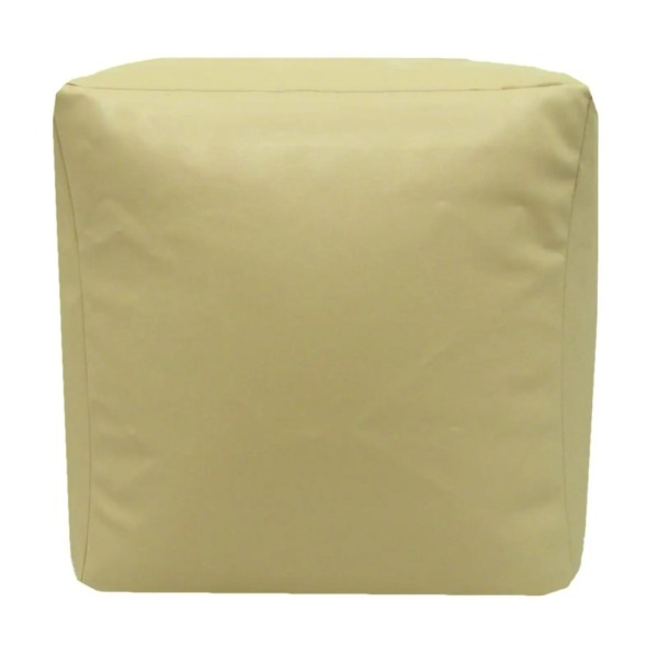 cream beige faux leather cube footstool