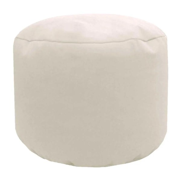 cream natural cotton drill round footstool pouffe