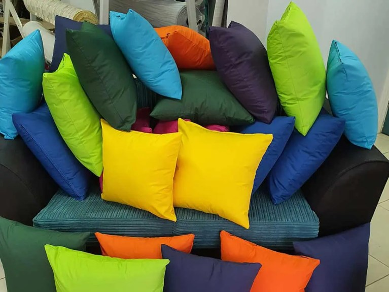 Dunrich cotton and waterproof bright coloured cushions