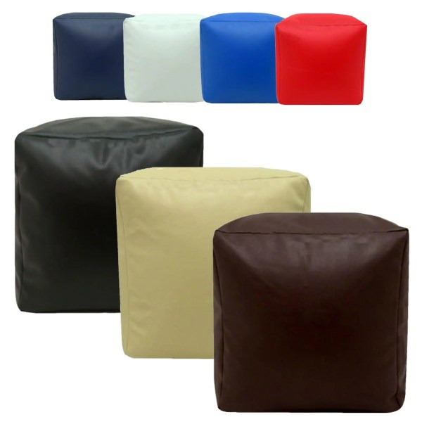 faux leather cube footstools