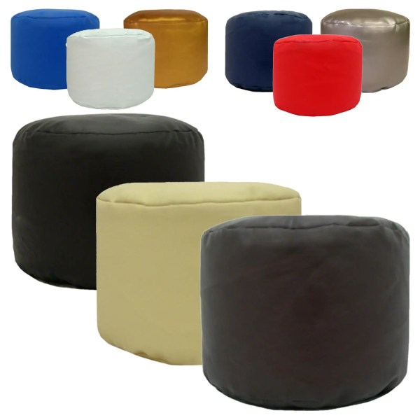 faux leather large round pouffe