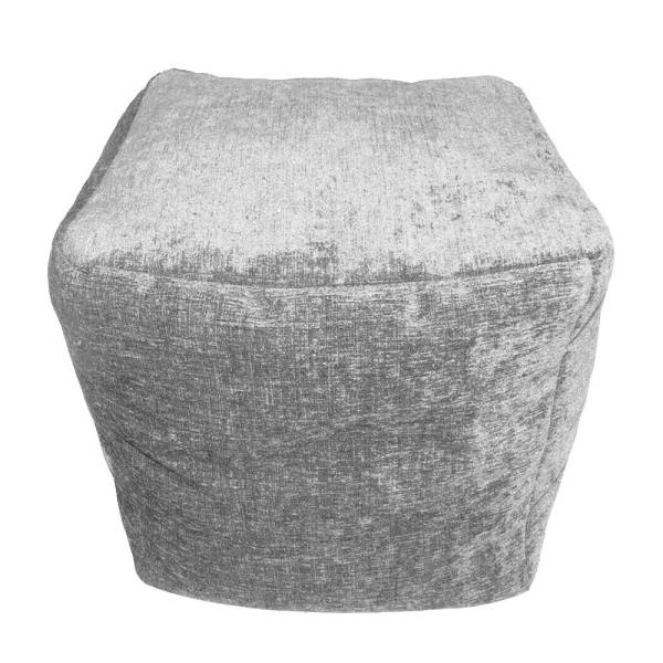 grey chenille cube footstool pouffe