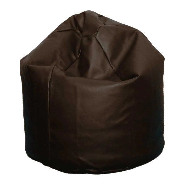 large brown faux leather beanbag