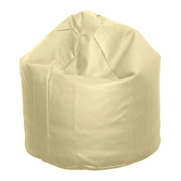 large cream natural faux leather beanbag
