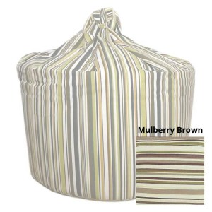 large mulberry brown goa striped cotton beanbag