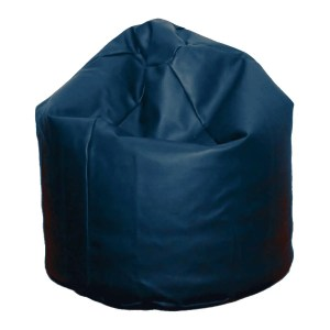 large navy blue faux leather beanbag