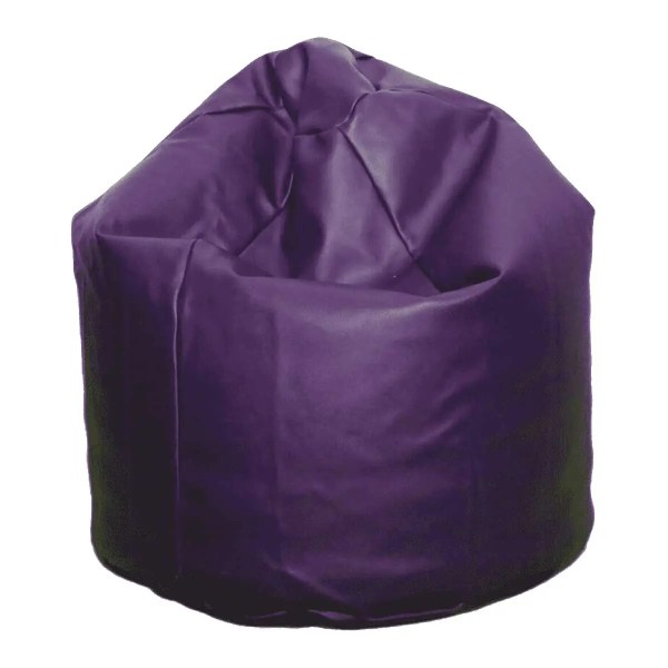 large purple faux leather beanbag