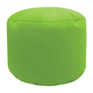 lime cotton drill round footstool pouffe