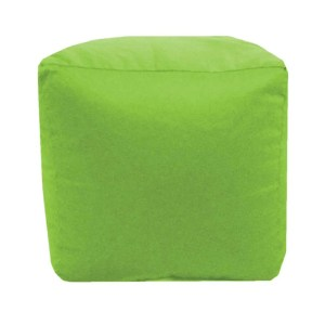 lime green cotton drill cube fabric footstool pouffe