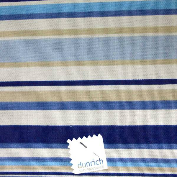 marine blue goa striped cotton fabric