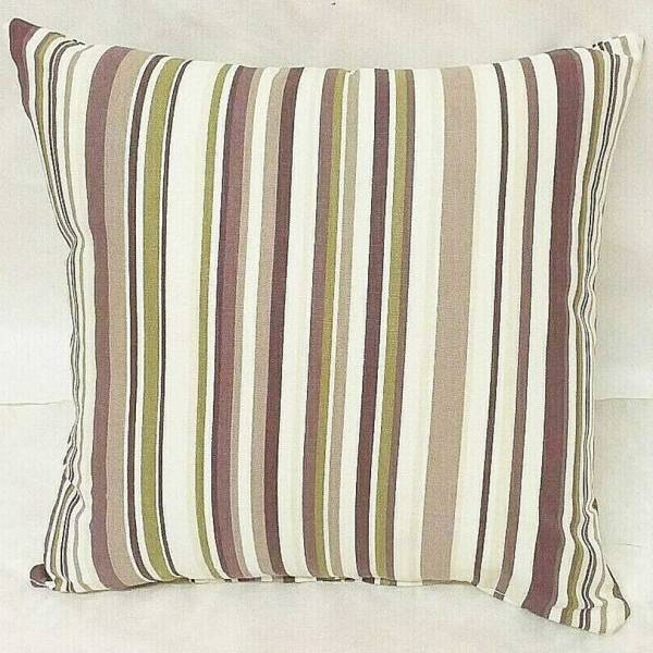 mulberry brown cotton striped goa scatter cushion