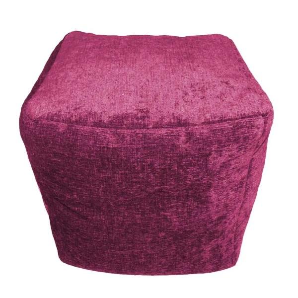 purple chenille cube footstool pouffe