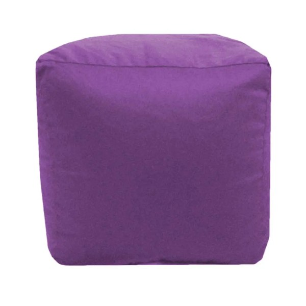 purple cotton drill cube fabric footstool pouffe