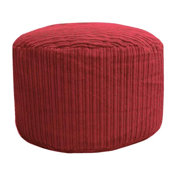 red chunky cord pouffe footstool