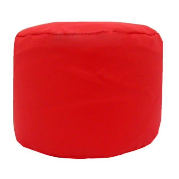 red faux leather large round pouffe