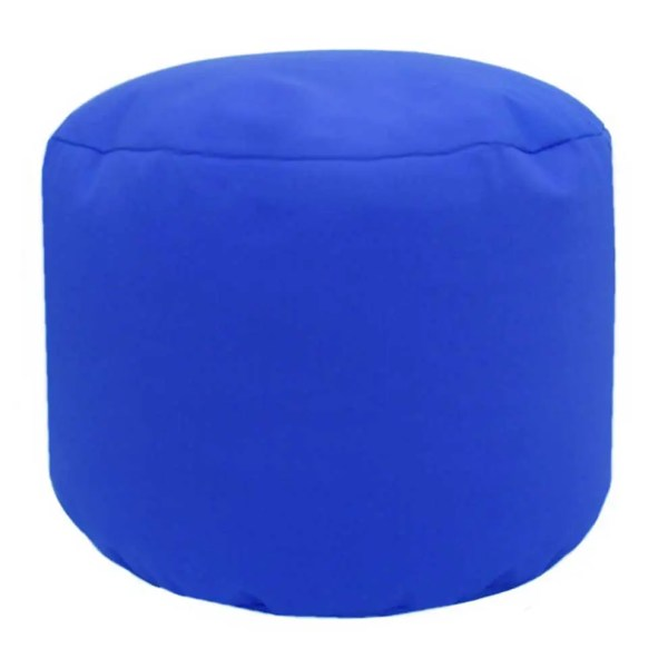 royal blue cotton drill round footstool pouffe