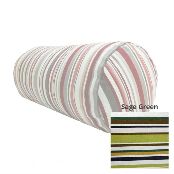 sage green goa striped cotton bolster cylinder cushions