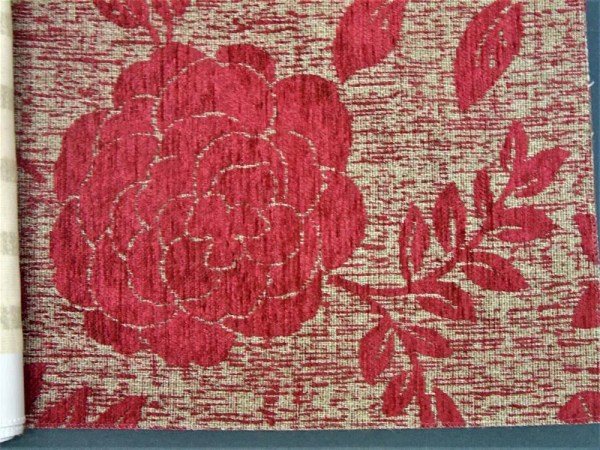 striped flower cut fabric beige red