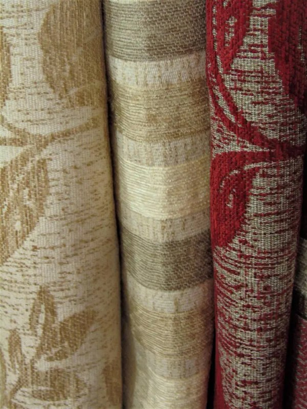 striped flower cut fabric beige red tones