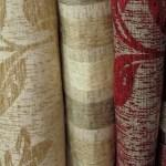 striped flower cut fabric beige red tones
