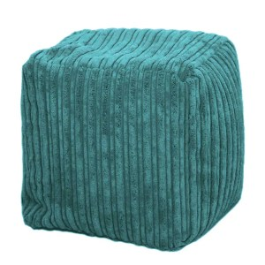 teal chunky cord pouffe footstool