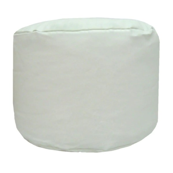 white faux leather large round pouffe