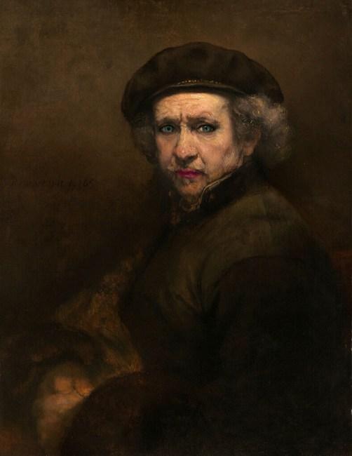 Ünlü Ressam Rembrandt 1659'da çizdiği kendi portresinin 'rötuşlanmış' hali.