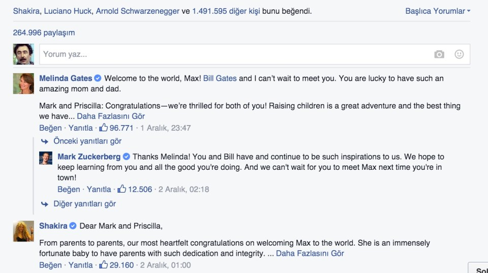 Zuckerberg'in kızı için yazdığı ve Facebook'ta paylaştığı mektup beğeni rekorları kırdı. 110 binin üstünde yorum alan paylaşıma gelen yorumlar da adeta bir şöhretler galerisi.