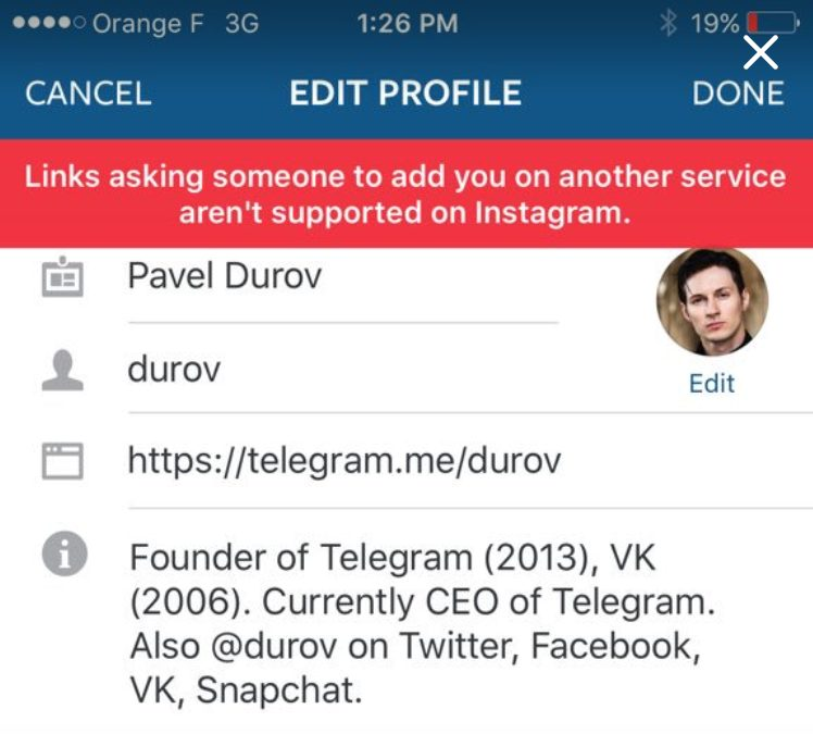 instagram telegram