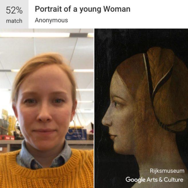 """Home Web editörüLauren Smith,biraz gülümsediği bir selfie yüklediğinde, bilinmeyen bir sanatçının """"Genç Kadın Portresi""""ne benzediğini buldu."""