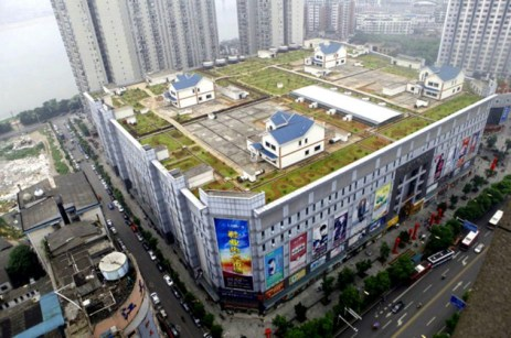 Bir alışveriş merkezinin üzerindeki evler -Hunan, Çin