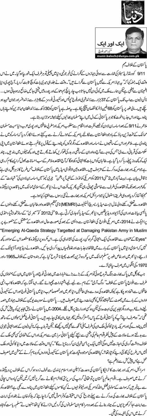 Pakistan k khilaf muhim - Munir Ahmed Baloch