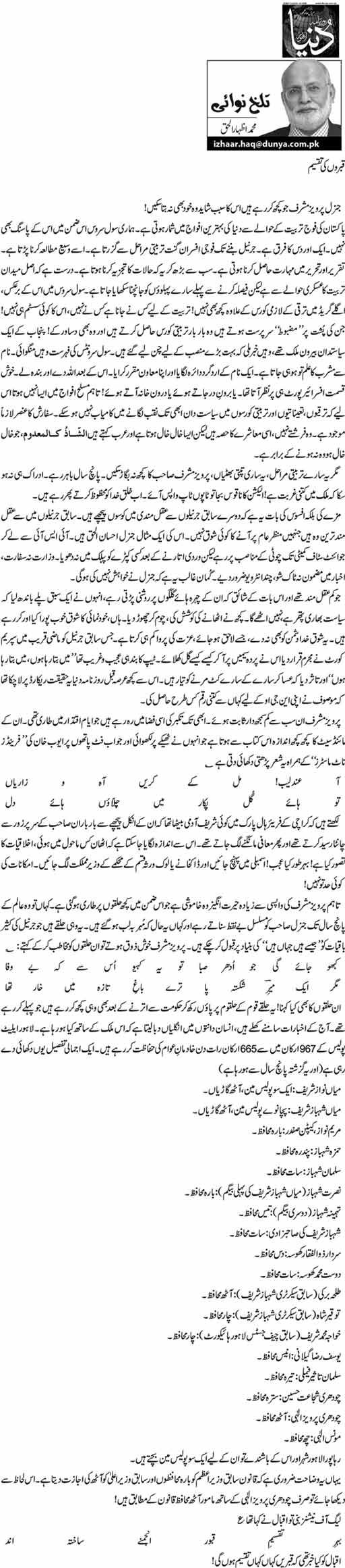 Kabron Ki Taqseem - M. Izhar ul Haq