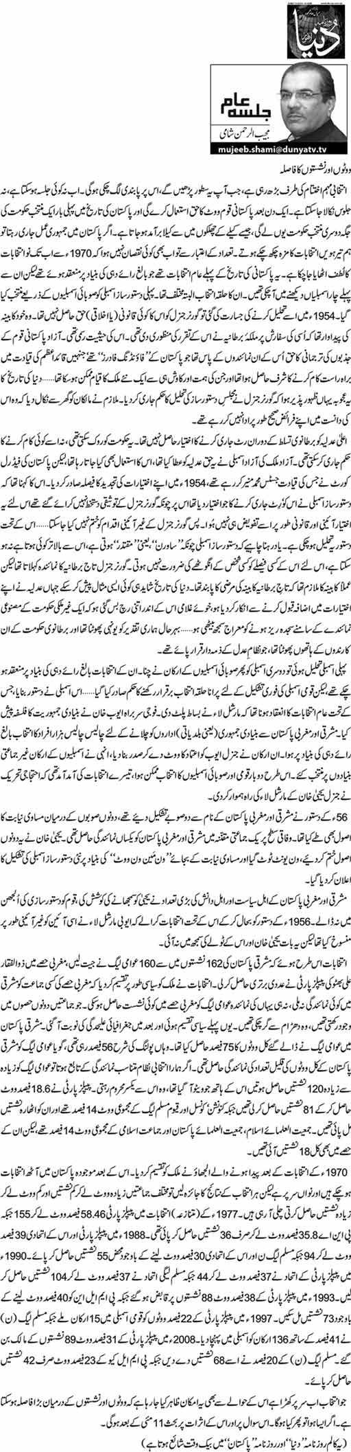 Voton Aur Nashiston Ka Fasla - Mujeeb ur Rehman Shami