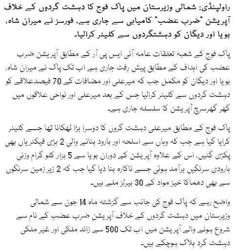 Pak Fauj Ny Miranshah, Boya And Degan Ko Dehshat Gardun Sy Clear Kara Liya: ISPR
