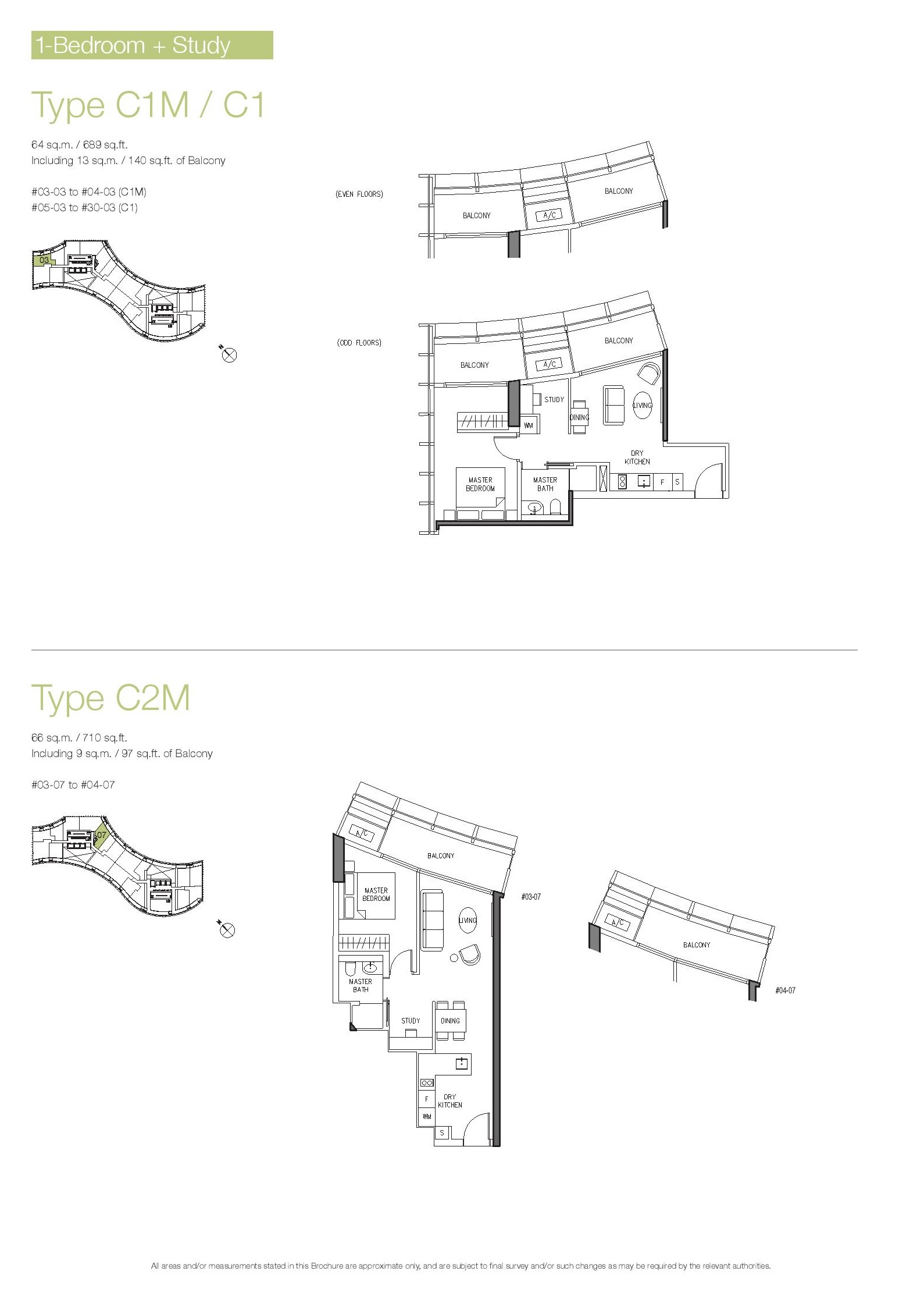Duo Residences 1 Bedroom + Study Floor Plan Type C1M, C1, C2M