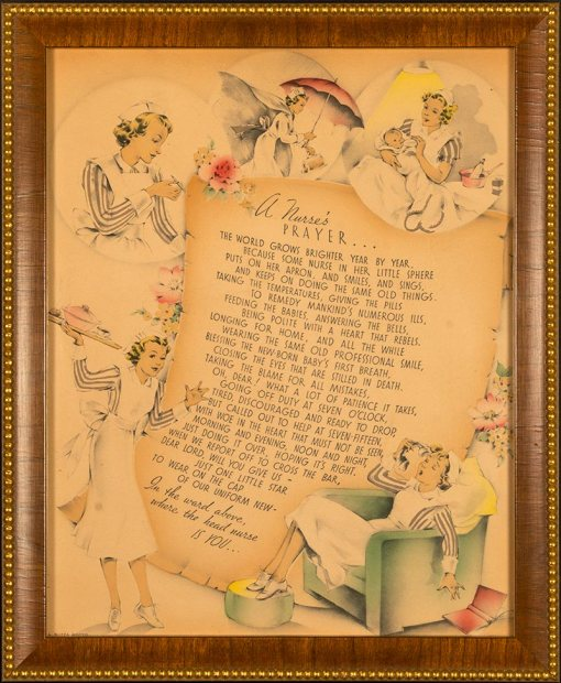 Buzza Motto - A Nurse's Prayer - Circa 1920's Lithograph