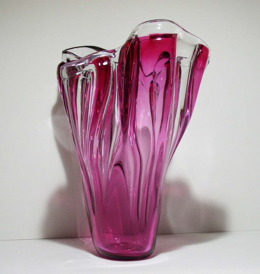 HAND BLOWN GLASS INFUSED WITH CRANBERRY GLASS