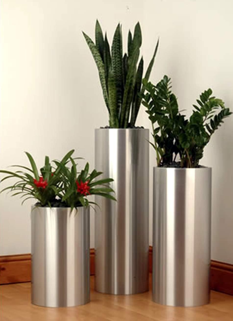 Tall Silver Planter