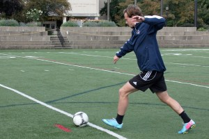 Claire Murray | The Duquesne Duke Josh Ellis shows his form to The Duke Monday afternoon on Rooney Field.