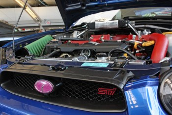 (Claire Murray / Asst. Photo Editor) n STI engine in a Subaru WRX from Moore Performance and Parts
