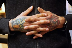 (Katie Auwaerter / The Duquesne Duke)- The hand tattoos of Travis Courtemanche
