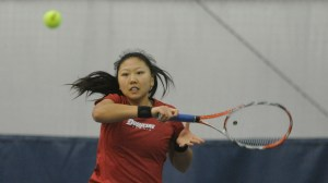 Courtesy Photo | Senior Judy Li returns a forehand. She's helped lead the Dukes to a 3-2 conference record with the Atlantic 10 Championships coming up on April 24.