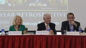 Photo by Jessica Nath | The Duquesne Duke. (from left to right) Jill Wine-Banks, Benton Becker and Timothy Naftali discuss President Gerald Ford's pardon of Richard Nixon at Monday's conference.