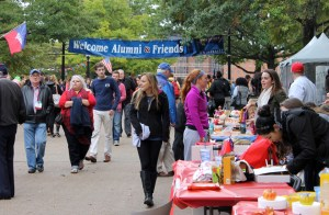Photo by Rebecca Kittel | For The Duquesne Duke. Students, faculty and alumni explore booths on Academic Walk this weekend as a part of Homecoming festivities. Inclement weather forced Autumnfest to end early.