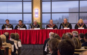 Photo by Claire Murray   Photo Editor. Pennsylvania Supreme Court justices convene in the Power Center Ballroom Tuesday afternoon to honor Ronald Castille.