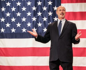Photo by Zach Brendza | Features Editor. Governor-elect Tom Wolf greets supporters at a grassroots campaign event Oct. 27 at the IBEW Union Hall in South Side. After the most expensive election race in state history, Wolf beat incumbent Tom Corbett by a margin of 9.8 percent.