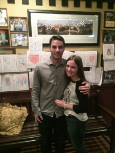 (Joey Sykes / The Duquesne Duke)Joey Sykes and Kayge Thomson pose at DeNunzio's Italian Restaurant in Monroeville.